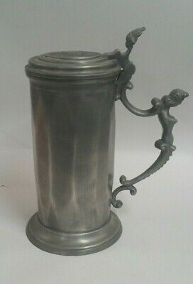 French Metal pewter tankard - mermaid handle coat of arms