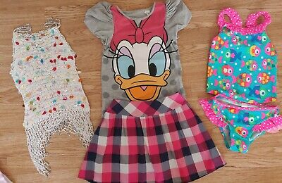 Girls summer outfit bundle tops skirt swimming costume 3-4 years