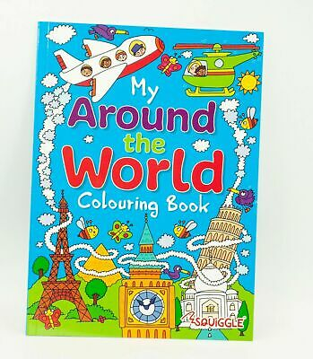 Around The World/Travel Activity Colouring Books Fun Kids Paint Book Drawing