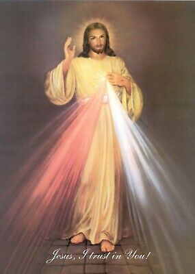 Divine Mercy Image Icon Picture Print A5 Jesus Christ Christian Miraculous