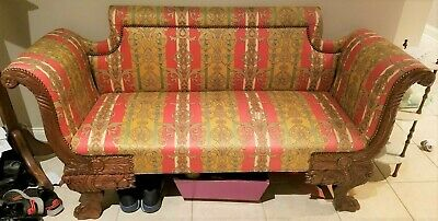 19th C Antique Italian Figural Victorian Sofa Settee Chaise Loveseat Couch Chair