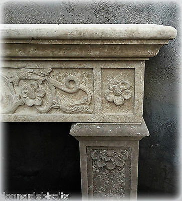 Kamin in Stein Lecce Stil Empire Lecce Stone Fireplace Made in Italy L130cm
