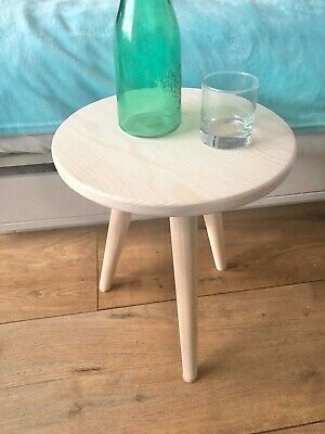 Bed side table in natural , round night table, nightstand table