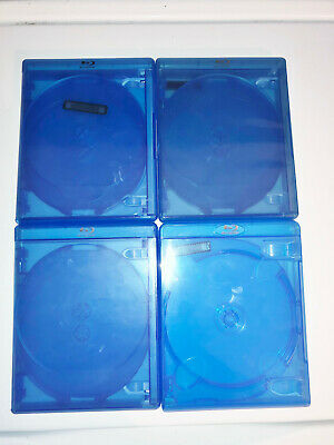 (4) BD Blu-ray DVD Empty Cases Blue 4 Four Disc 14mm