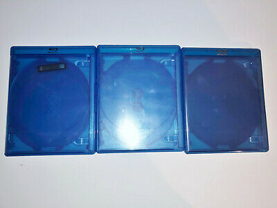 (3) BD Blu-ray DVD Empty Cases Blue 4 Four Disc 14mm