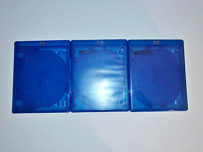(3) BD Blu-ray DVD Empty Cases Blue 5 Five Disc 14mm