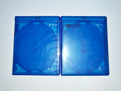 (2) BD Blu-ray DVD Empty Cases Blue 5 Five Disc 14mm