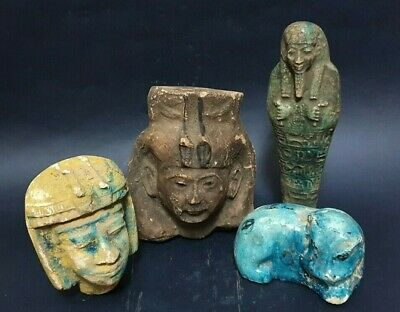 ANCIENT EGYPTIAN ANTIQUES Rare 4 AMULETS Ushabti Hippo Statues Figure 300 BC