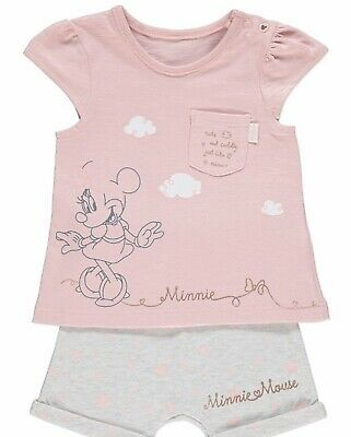 Bnwt Baby Girls Summer Minnie Mouse Short Top Set 0-3m Disney George