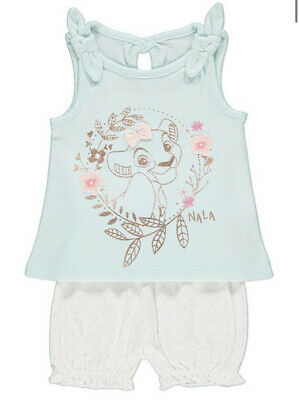 Bnwt Baby Girls Short Top Summer Set Nala Disney Lion King George 0-3m