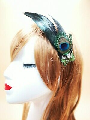 Dark Green Gold Peacock Feather Fascinator Hair Clip Races Cocktail 1920s