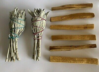 6 Palo Santo Wood & 2 White Sage Smudge Sticks : Cleansing Negativity Removal