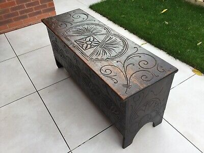 17th Century Oak  Plank Coffer  Chest With Carving Detail