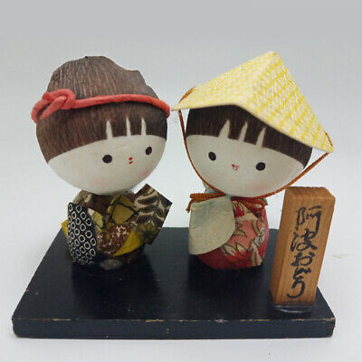 Japanese Doll Paper foam polystyrene Miniature Wooden Decor Vintage Figurine Art