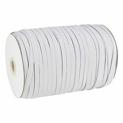 """200yds/Roll 1/4"""" Flat Elastic Cords Knit Braided Sewing Bands Ropes White 6mm"""