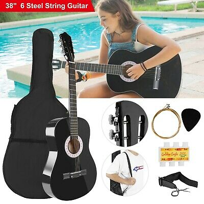 """38"""" Beginners Acoustic Guitar with Guitar Case, Strap, Tuner&Pick Steel Strings"""