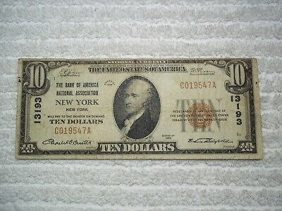 1929 $10 New York NY National Currency T1 # 13193 Bank of America Natl Assoc NY#