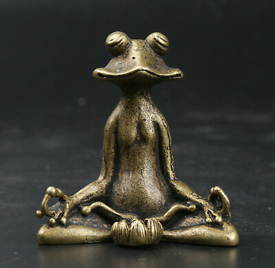 55MM Curio China Bronze Lovable Animal Sit Frog Lotus Statue Incense Insertion