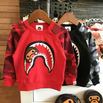 Fashion Kids Boy Girls Red Black Camo Shark Long Sleeve Hoodie Sweatershirt
