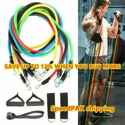 11pcs Resistance Trainer Set Exercise Fitness Tube Gym Workout Strength Bands ++