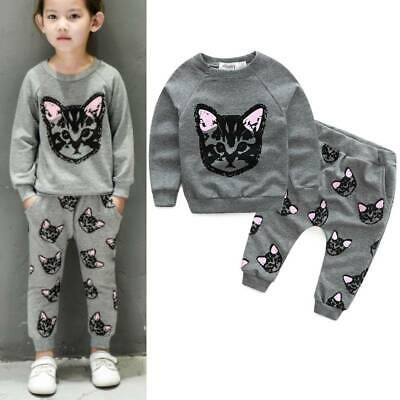 Toddler Baby Girls Cat Print Sweater Tops Pants Outfits Clothes Sets Tracksuit