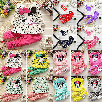 Kids Baby Girl Cotton Minnie Mouse Clothes T-shirt Top Pants Leggings Outfit Set