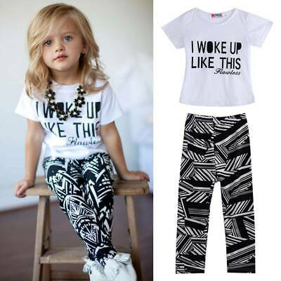 2PCS Kids Baby Girls Summer T-shirt Tops Pants Leggings Outfits Casual Clothes