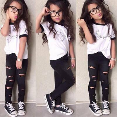 Kids Girls Outfits Tee Tops+Ripped Leggings Pants Casual Summer 2pcs Clothes Set