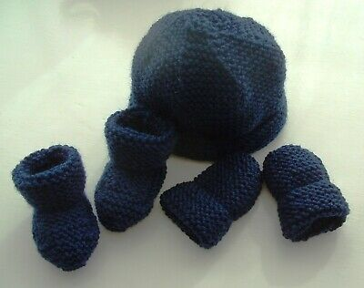 Baby Hand Knitted Hat, Mittens, Bootees Set, Navy Blue, 0-3 Months, New