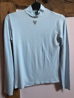 Benetton Girls Long Sleeve Jersey Top Pale Blue Size XL Age 11-12 Years VGC