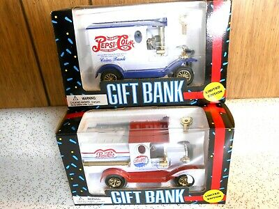 Pepsi Cola Gift Bank Limited Edition golden Wheels, NIB, 1993, Lot of Two(2)