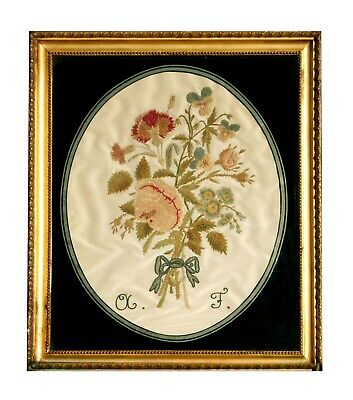 Antique Silk Floral Embroidery
