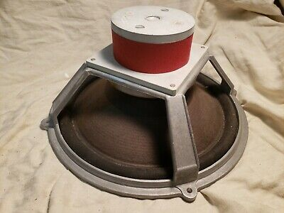 "Wharfedale Stereo Speaker 12"" Cast red Alnico Aluminum Woofer Made in England"