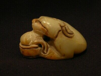B Vintage Carved Chinese White Jade 3 Legged Toad Frog Statue Figurine Sculpture