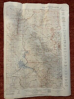 """VTg- Rocky Mountain National Park 1951 USGS TOPOGRAPHIC MAP 17x23""""-mid-century"""