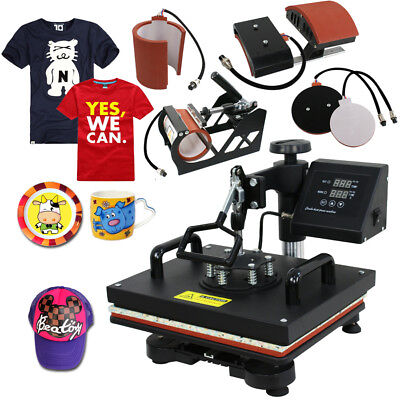 Digital Heat Press 5 In 1 Machine Sublimation For T-Shirt/Mug/Plate Hat Printer