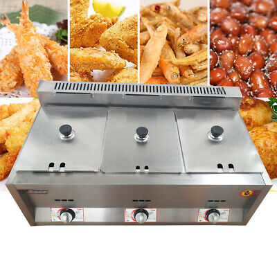 3 Pan Gas Steam Table Gas Fryer Food Warmer Kitchen Steamer Commercial Fryer Pan