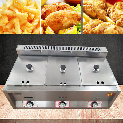 3 Deep Pan Gas Steam Table Food Warmer Commercial Equipment Kitchen Steamer NEW