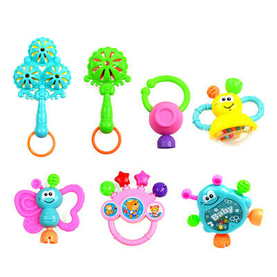 7Pcs Baby Rattle Toy Musical Instruments Hand Shaker Bell Jingle Ball Toy Set BK