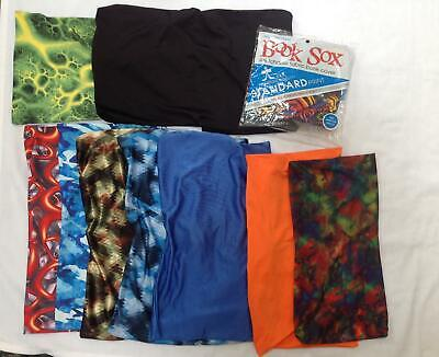 Book Sox stretchable fabric covers small jumbo sizes big Boys lot 10 solid print