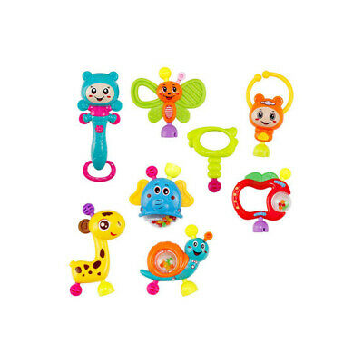8Pcs Portable Baby Rattles Teether Shaker Grab and Spin Rattle Musical Toy Set