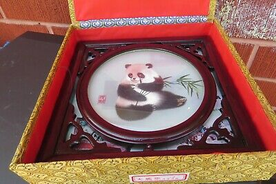 Vintage Chinese  Panda Bear Silk Embroidery wooden Framed  wall picture