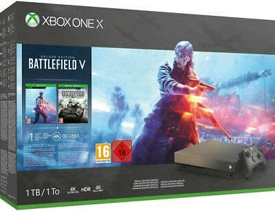 Xbox One X 1TB Gold Rush Special Edition Console Battlefield V Bundle Brand New