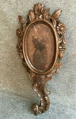 Antique black forest hand mirror frame wood early 1900's France woodwork