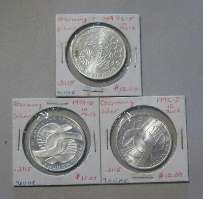 Germany - (3) Large Silver 10 Mark Coins - 1972 - Nice