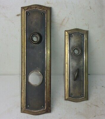 Pair of Antique Victorian Entrance Door Plates Backplates Reclaimed Salvaged