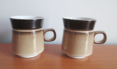 """Denby Country Cuisine 2 Coffee Mugs 3 3/4"""" Brown Tan Stoneware 1980s England"""