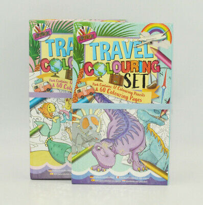 Travel Colouring Book Set Pencil Crayons Colour Kids Activity Pack