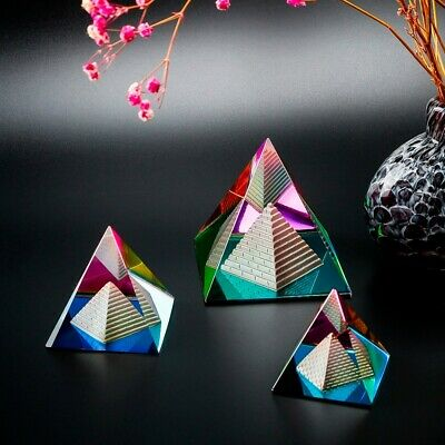 Iridescent Feng Shui Egyptian Colorful Rainbow Pyramid Inside a Pyramid Crystal