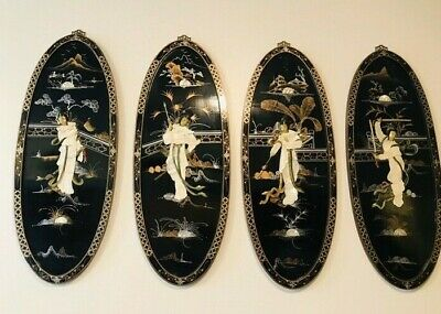 Antique Large Chinese Asian Black Lacquer Mother of Pearl Geisha 4 Wall Panels